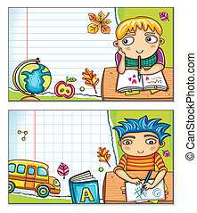 School cards 1 - Vector banner with cute children sitting at...