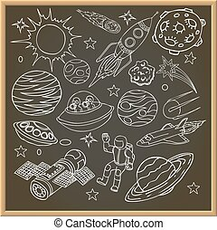 School chalk board with outer space doodles, symbols and design elements. Cartoon background. Hand drawn vector illustration