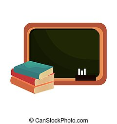 school chalkboard and books