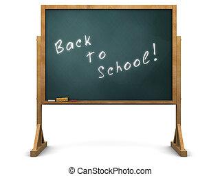 school chalkboard - 3d illustration of chalkboard with 'back...