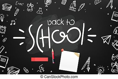School chalkboard with different objects and lettering logo. Welcome back to school
