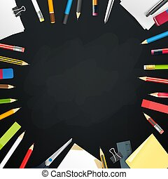 School chalkboard with different objects. Vector frame for a text