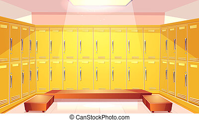 school changing room with lockers