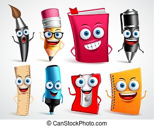 School characters vector illustration set. Education