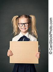 School Child Advertising Board over Blackboard Background, Girl in Glasses Advertise Blank Banner