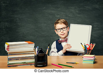 School Child Advertising Book over Blackboard,  Boy Student Sitting in Classroom and Showing Blank Cover, Education Literature