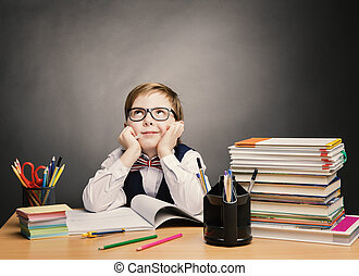 School Child Boy in Glasses Think in Classroom Kid