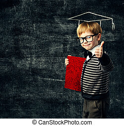School Child Education Book, Kid in Glasses with Certificate, Graduation Hat on Blackboard Background, Thumbs Up
