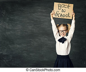 School Child over Blackboard Background, Girl in Glasses Advertise Back to School Board, Kid in Classroom over Chalkboard