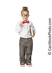 School Child Portrait, Little School Girl in Glasses with Book