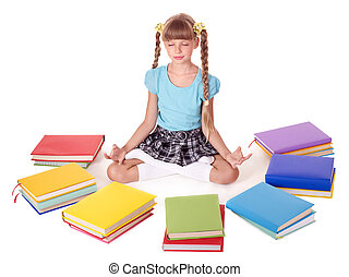 School child sitting lotus position. Isolated.