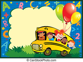 School childhood. Children go to school to learn. Place for your text. Vector art-illustration.