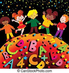 School childhood. Vector art-illustration.