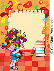 School childhood. Small girl with flowers in the school. Place for your text. Vector Illustration.