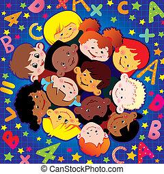 School childhood. Vector art-illustration on a blue...