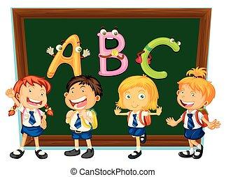 School children and blackboard