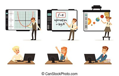 School Children at Informatics or Programming Lesson Collection, Students Working on Computers and Standing in Front of Interactive Whiteboard Vector Illustration