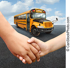 School Children Bus - School children bus with two young...