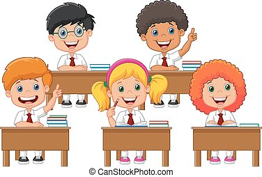 School children cartoon in classroo