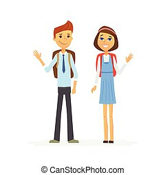 School Children - characters of happy boy and girl - School...