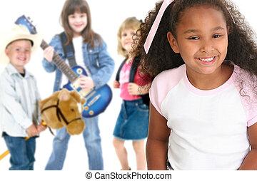 School Children - Children over white. Kindergarten, first ...