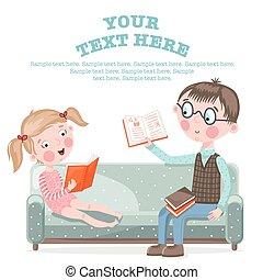 School children do homework sitting on the couch.