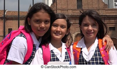 School Children Girl Friends