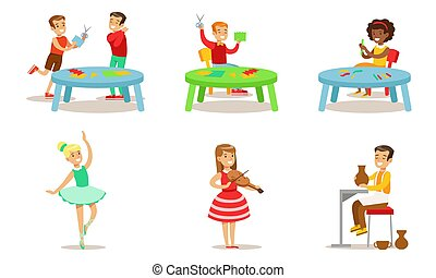 School Children Hobbies Set, Teenagers Boys and Girls Making Application, Sculpting from Plasticine, Playing Music, Dancing, Pottering Vector Illustration