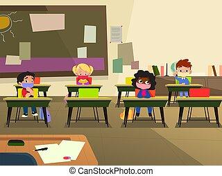 School Children in Classroom Wearing Mask Illustration