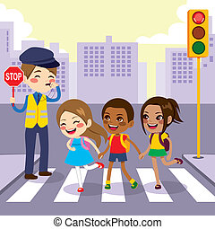 School Children Pedestrian Crossing - Three cute little...