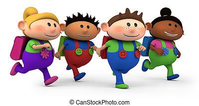 cute multi-ethnic kids running - way to school - high quality 3d illustration