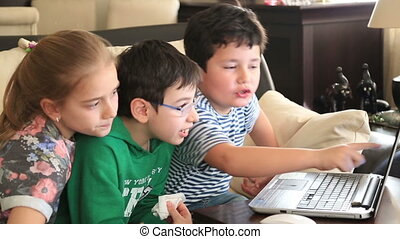 School children using computer