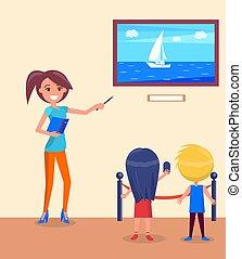 School Children with Guide in Marine Museum Vector
