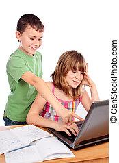 School children working together, educational concept