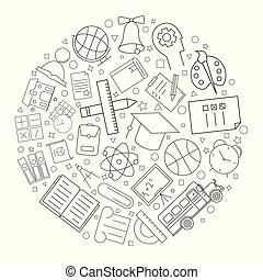 School circle background from line icon. Linear vector pattern.