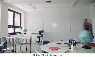 school., classoom, privé, bureau, peu conventionnel, globe