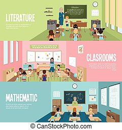 School Classroom Banners - Horizontal banners with scenes in...