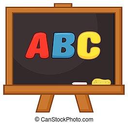 School Classroom Chalkboard Cartoon Design With Text ABC