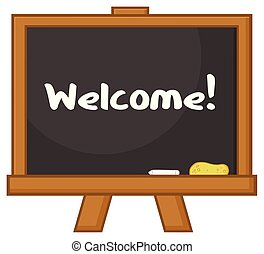 School Classroom Chalkboard Cartoon Design With Text Welcome