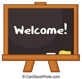School Classroom Chalkboard Cartoon Design With Text Welcome
