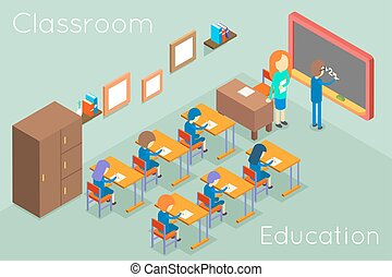 School classroom education isometric concept vector