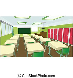Class for education, board, table and study, blackboard and lesson. Vector flat illustration