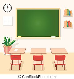 School classroom with chalkboard and desks. Class for education, board, table or study, blackboard lesson. Vector