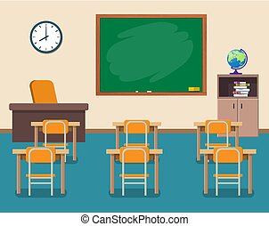 School classroom with chalkboard and desks.