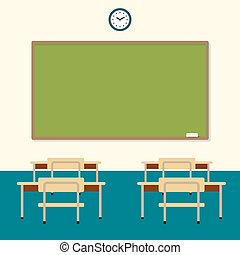 School classroom with chalkboard and desks. education board, table and study. Vector flat illustration