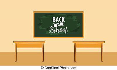 school classroom with chalkboard scene ,back to school 4k...