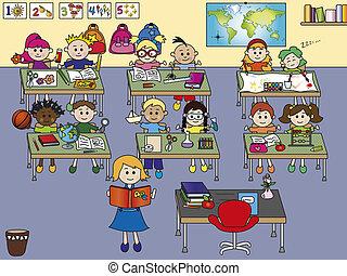 school classroom with children and teacher