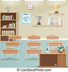 School classroom with desks.