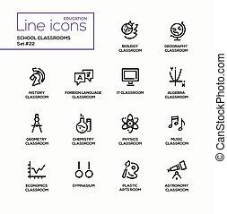 School Classrooms - modern vector single line icons set.