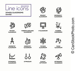 School Classrooms - modern vector single line icons set.